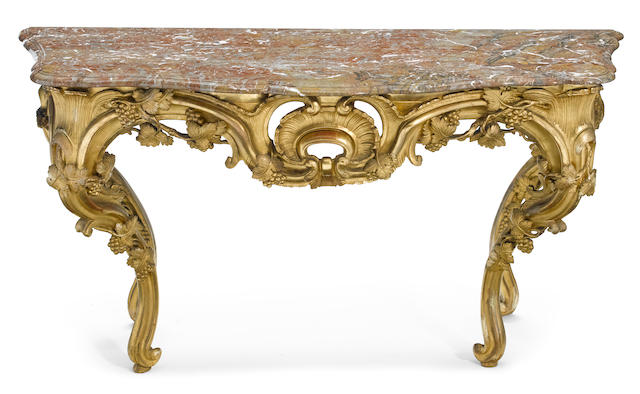 A Louis XV style carved giltwood console <BR />fourth quarter 19th century
