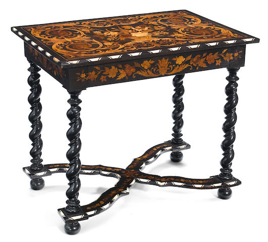 A Flemish Baroque style marquetry inlaid ebonized and mahogany side table <BR />second half 19th century