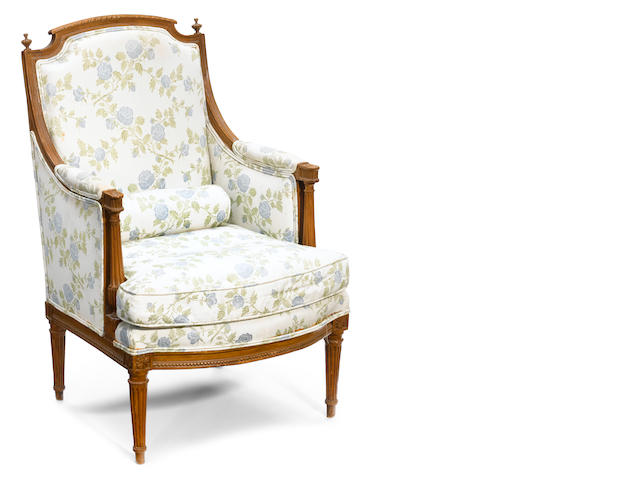 A Louis XVI carved beechwood bergère <BR />stamped G. Jacob<BR />fourth quarter 18th century