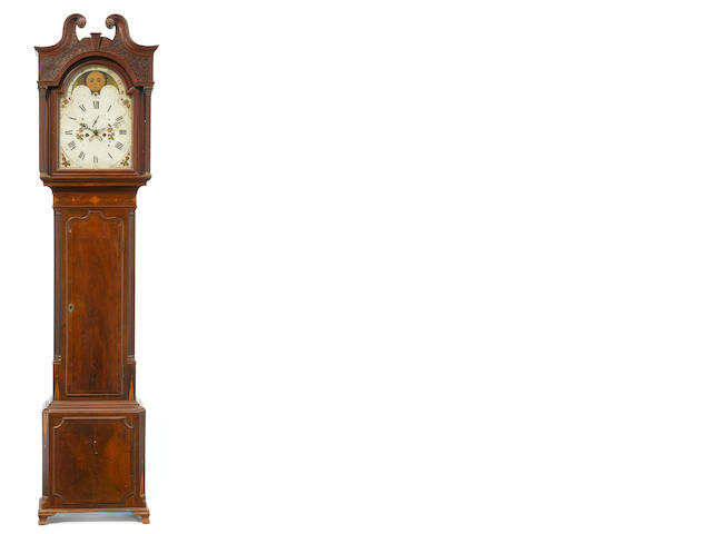 A George III mahogany inlaid tall case clock<BR />fourth quarter 18th century