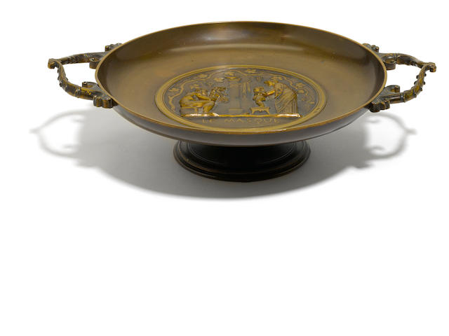 A French patinated bronze tazza <BR />F. Barbedienne foundry, Paris<BR />late 19th century