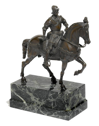 A Continental bronze equestrian figure of Bartolomeo Colleoni <BR />after a model by Andrea del Verrocchio (Italian, 1435–1488) <BR />late 19th century