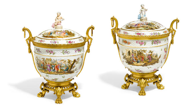 A pair of Continental gilt bronze mounted covered bowls  early 20th century