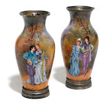 A pair of Limoges enamel vases <BR />late 19th/early 20th century