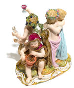 A Meissen porcelain figural group <BR />late 19th century