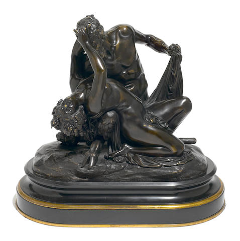 A French patinated bronze mythological figural group  after a model by Jean-Jacques, also called James Pradier (Swiss, 1790-1852) late 19th century