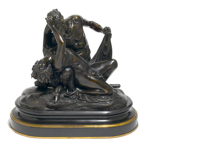 A French patinated bronze mythological figural group  <BR />after a model by Jean-Jacques, also called James Pradier (Swiss, 1790-1852)<BR />late 19th century