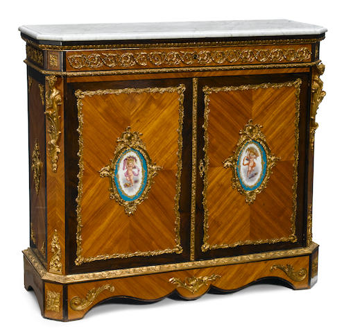 A Napoleon III gilt bronze and porcelain mounted walnut meuble d'appui  third quarter 19th century