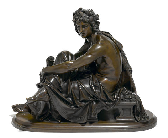 A French patinated bronze figure <BR />after a model by Albert Carrier-Belleuse (French, 1824-1887)<BR />late 19th century