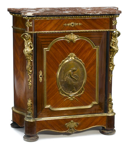 A Napoleon III gilt bronze mounted mahogany and kingwood meuble d'appui  third quarter 19th century