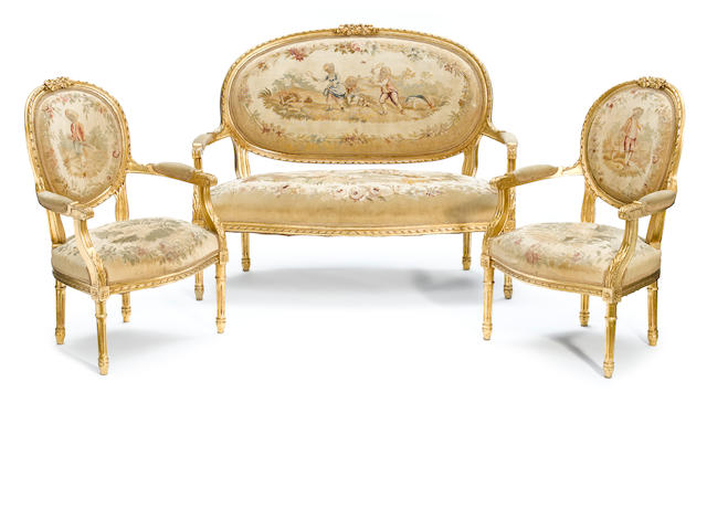 A suite of Louis XVI style giltwood seat furniture <BR />late 19th century