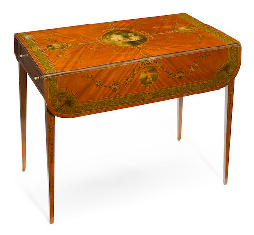 A George III style paint decorated satinwood pembroke table  circa 1900