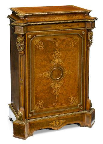 A Napoleon III gilt bronze mounted marquetry inlaid amboyna meuble d'appui <BR />third quarter 19th century