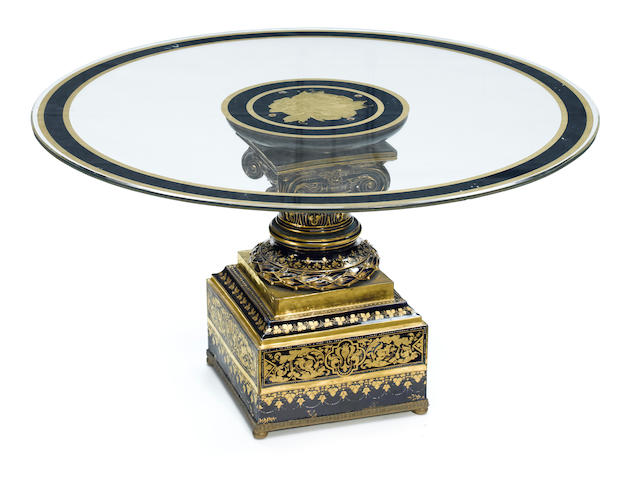 A Sèvres style porcelain and eglomise glass coffee table