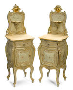 An impressive Continental Rococo style parcel gilt and paint decorated suite of bedroom furniture  late 19th century