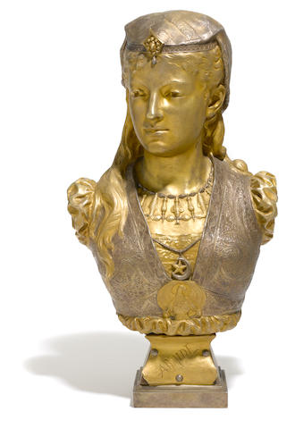 A French gilt and silvered bronze bust: Armide  after a model by Zacharie Rimbez (French, late 19th/early 20th century)