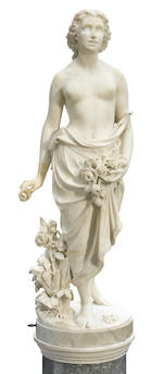 A good quality Italian carved marble figure on pedestal  <BR />G. Carnevale, Roma<BR />circa 1870