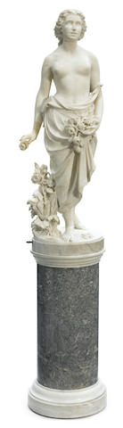 A good quality Italian carved marble figure on pedestal  after a model by Giuseppe Carnevale (Italian, 19th century) circa 1870
