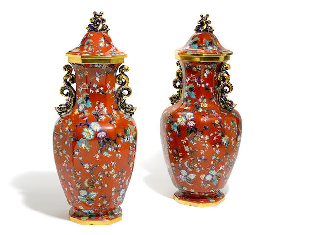 A pair of Masons ironstone covered vases