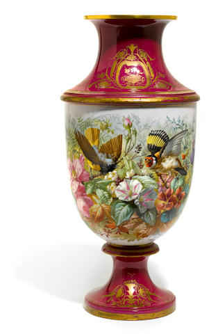 A French porcelain vase painted with birds