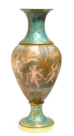 A Sèvres style porcelain vase painted with putti
