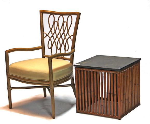 A Mcguire Furntiure Co. Barbara Barry 'Script' armchair and a McGuire Furntiure Co. side table