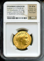 Ptolemaic Kings of Egypt, Arsinoe II, Wife of Ptolemy II Philadelphos; 270-268 BC, Octadrachm, Alexandria, Struck under Ptolemy II, Ch XF* NGC