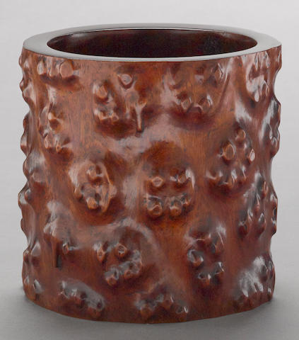 A hardwood scroll pot