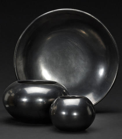 Three San Ildefonso blackware vessels