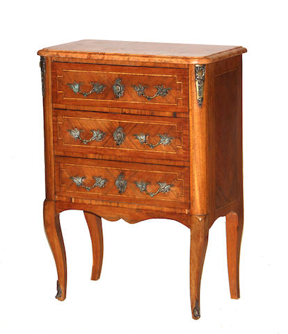 A Louis XV/XVI transitional style inlaid parquetry small commode second half 20th century