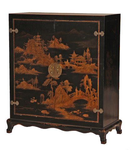 An Asian style ebonized and chinoiserie decorated entertainment cabinet 20th century