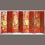 A Chinese style red lacquered screen