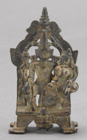 A Bengali copper alloy shrine depicting Vishnu and consort India, 16th/17th century