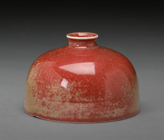 A peach bloom glazed porcelain water coupe, taibozun Kangxi mark