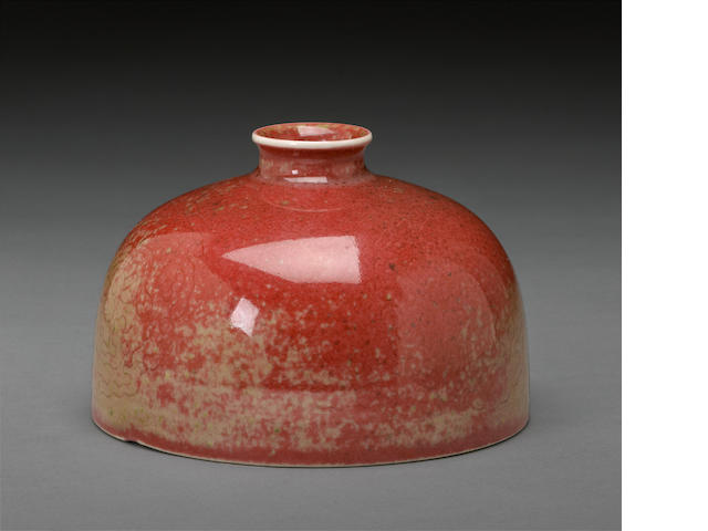 A peach bloom glaze water coupe, taibozun Kangxi mark