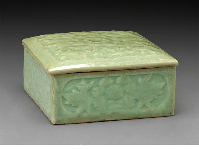 A celadon glazed porcelain covered square box