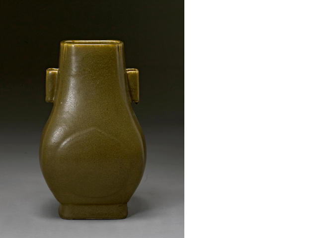 A teadust glazed hu-form vase Guangxu mark, Late Qing/Republic period