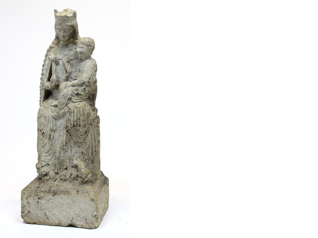A composition stone figural group of the Virgin and Child in the 13th century French style
