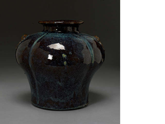 A jun-style glazed yixing pottery jar 20th century