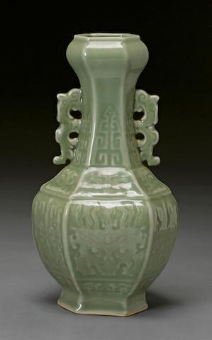 A celadon glazed porcelain vase Qianlong mark, Republic period