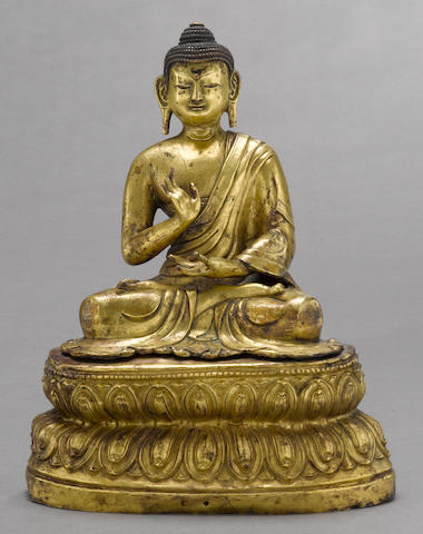 A gilt copper repoussé figure of seated Maitreya 18th century