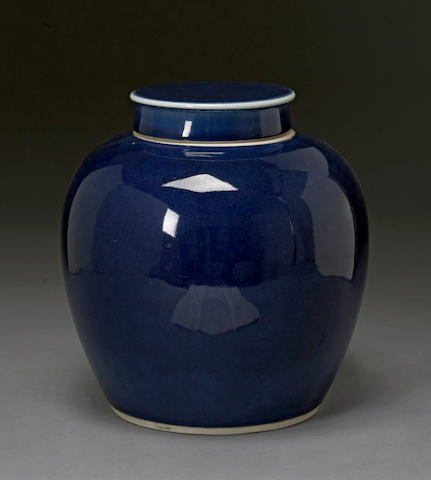A blue glazed porcelain covered ginger jar 19th century