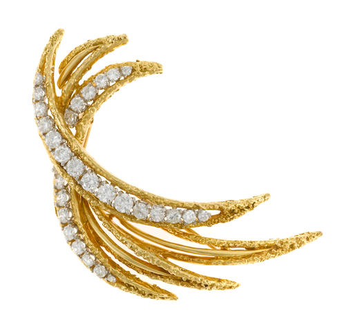 A diamond brooch, French,