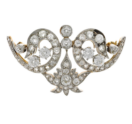 A belle époque diamond brooch