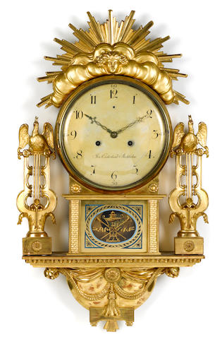 A Swedish Neoclassical giltwood wall clock  Jon Cederlund, Stockholm late 18th century
