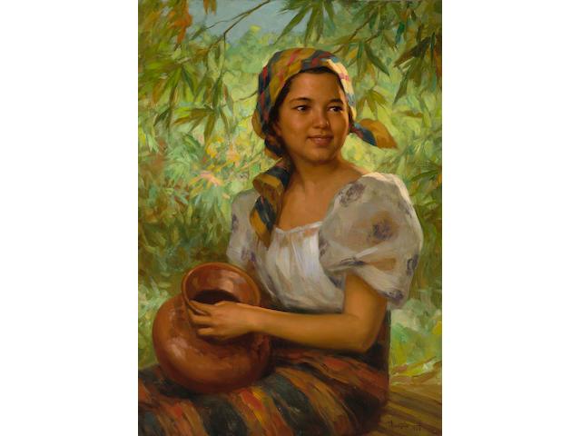 Fernando Amorsolo Y Cueto (1892-1972) Young Woman Holding a Jar