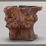 A rootwood brush pot, bitong 18th/19th century