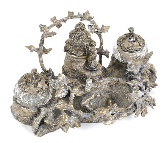 A French silvered bronze inkstand  late 19th century