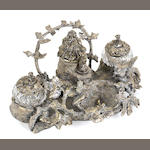 A French silvered bronze inkstand