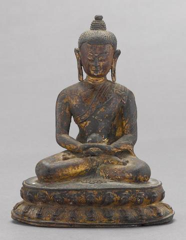 A Tibetan gilt-lacquered bronze Medicine Buddha 17th/18th century